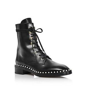 Stuart Weitzman Women's Sondra Faux Pearl Combat Boots  - Female - Black Leather - Size: 9.5