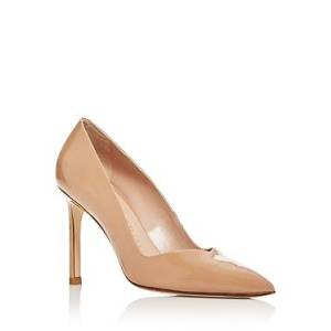 Stuart Weitzman Women's Anny Pointed-Toe Curved Pumps  - Female - Adobe Patent Leather - Size: 6.5