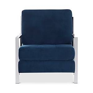 Safavieh Walden Modern Tufted Linen Chrome Accent Chair  - Navy