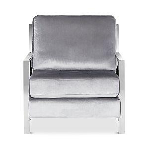 Safavieh Walden Modern Tufted Linen Chrome Accent Chair  - Light Grey