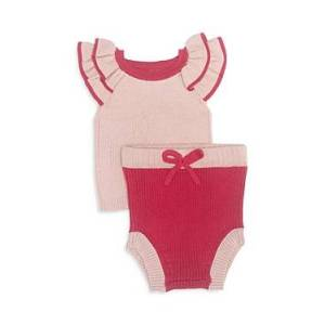 Tun Tun Girls' Andrea Ribbed Top & Bloomers Set - Baby  - Pink Cherry - Size: 0-3 months