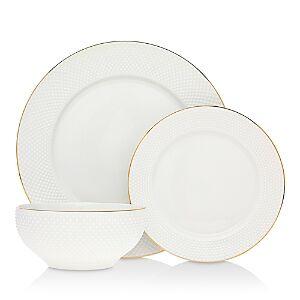 Godinger Pique 18-Piece Dinnerware Set - 100% Exclusive  - Ivory/Gold