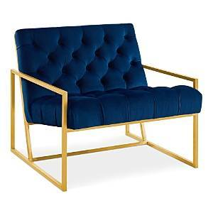 Modway Bequest Gold Stainless Steel Upholstered Velvet Accent Chair  - Navy