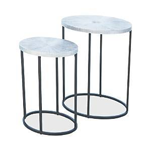 Global Views Striated Accent Table, Large  - Nickel