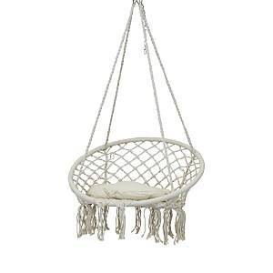 Sunnydaze Decor Macrame Hammock Chair with Tassels and Cushion  - Off-white