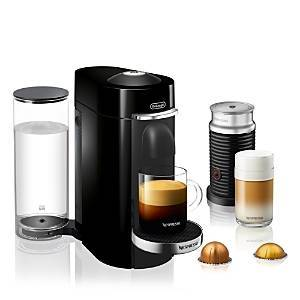Nespresso VertuoPlus Deluxe by De'Longhi with Aeroccino Milk Frother, Classic Black  - Black - Size: Model ENV155BAE