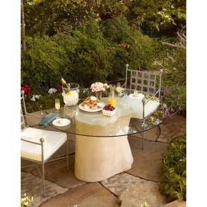 Philips Log Glass-Top Outdoor Dining Table