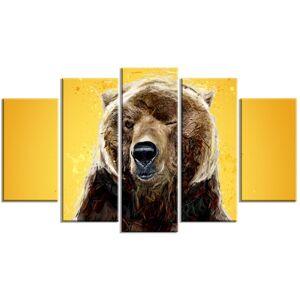 Brown Bear Yelllow - Large Animal Canvas Wall Art