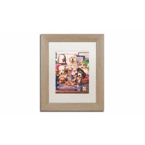 Jenny Newland 'Suds and Pups' Matted Birch Framed Art