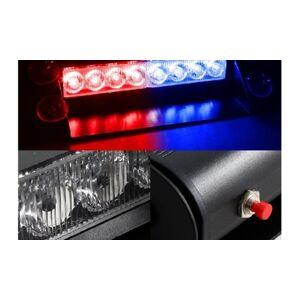 Zone Tech 8 LED Visor Dashboard Emergency Strobe Lights Red/Blue