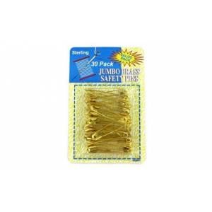 """Bulk Buys HD002-96 2"""" Jumbo Brass Safety Pins - Pack of 96"""