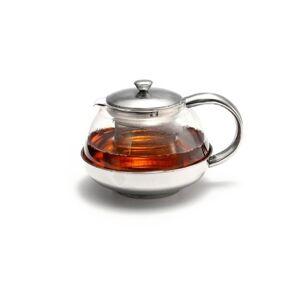 Basic Stainless Steel & Glass Tea Pot Loose Tea Leaf Infuser