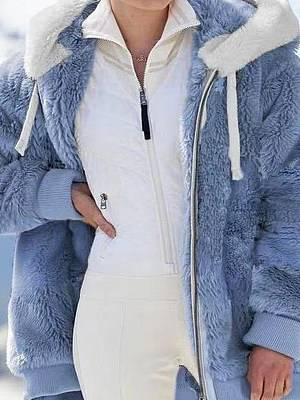 Berrylook Autumn And Winter Loose Plush Zipper Hooded Jacket shoping, fashion store, Long Coats, winter clothes for women, winter vest womens