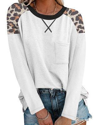 Berrylook Round Neck Stitching Long-sleeved Casual T-shirt online shop, fashion store,