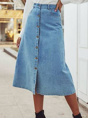Berrylook Fashion high-waist button-decorated casual denim skirt clothing stores, stores and shops,