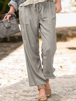 Berrylook Solid Color Casual Linen Pocket Pants shoping, fashion store,