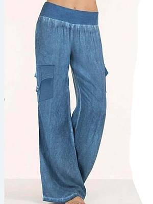 Berrylook Fashion casual denim color cotton and linen casual pants shoping, clothes shopping near me,