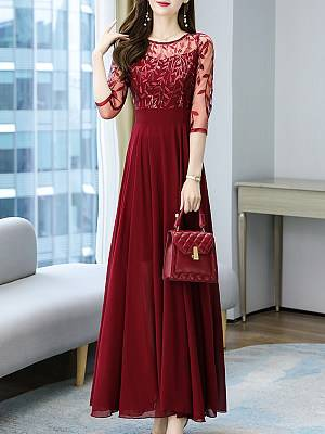 Berrylook Elegant Mesh Embroidered Stitching Dress shoppers stop, fashion store, a line dress, petite maxi dresses