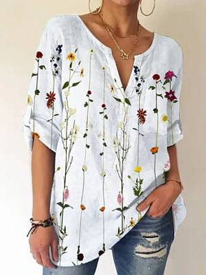 Berrylook Ladies V-neck Floral Print Fashion Short-sleeved Blouse clothing stores, stores and shops, summer tops for women, black blouse