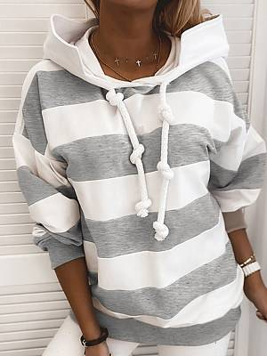 Berrylook Autumn and winter fashion new striped printed hooded casual sweater shoppers stop, clothes shopping near me, stripe Hoodies, cool hoodies, grey hoodie