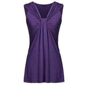 Berrylook V Neck Patchwork Plain Sleeveless T-Shirts online sale, stores and shops,