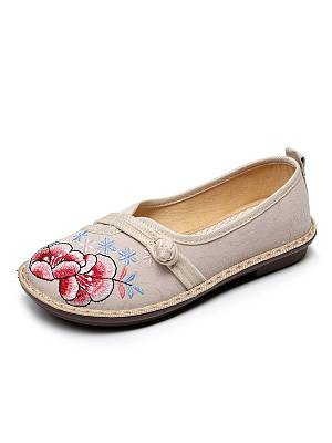 Berrylook Round Toe Flower Flat Embroidered Shoes shoping, clothes shopping near me,