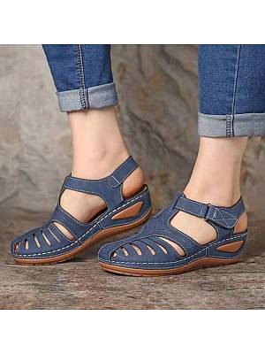 Berrylook Vintage Roman Shoes Round Toe Wedge Sandals clothes shopping near me, online,