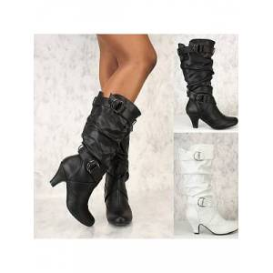 Berrylook Plain High Heeled Round Toe Outdoor Knee High High Heels Boots shoping, stores and shops,