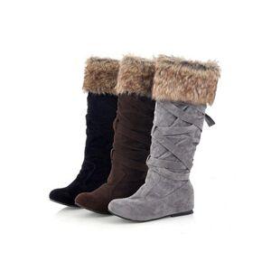 Berrylook Plain Flat Velvet Round Toe Mid Calf Flat Boots cheap online shopping sites, online sale,