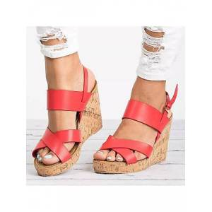 Berrylook Plain High Heeled Peep Toe Date Wedge Sandals online, cheap online stores, Plain Wedge Sandals,