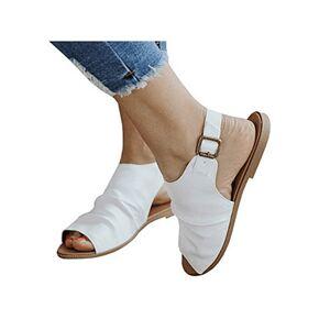 Berrylook Plain Flat Ankle Strap Peep Toe Casual Flat Sandals online shop, fashion store,