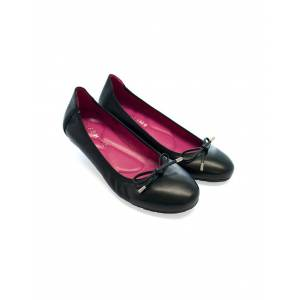 Seraphine Black Ballet Flats with Pink Insoles