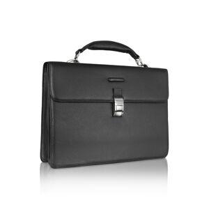 Piquadro Designer Travel Bags, Modus - Black Leather Laptop Briefcase