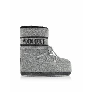 Moon Boot Designer Shoes, Classic 50 Silver and Black Swarovski Boots