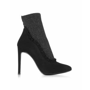 Giuseppe Zanotti Designer Shoes, Black Suede and Glitter Stretch Fabric High Heel Booties