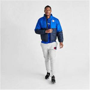 Champion Men's Stadium Puffer Jacket in Blue Size Medium 100% Polyester/Fiber