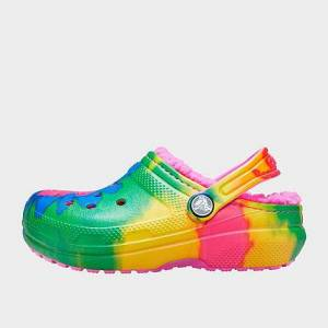 Crocs Girls' Big Kids' Classic Tie-Dye Graphic Lined Clog Shoes in Pink/Green Size 4.0 Fleece