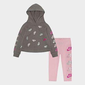 Nike Girls' Toddler Futura Stack Hoodie and Legging Set in Pink/Grey Size 3 Toddler Knit