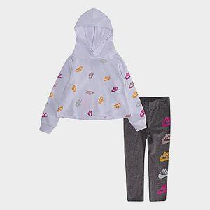 Nike Girls' Toddler Futura Stack Hoodie and Legging Set in White/Grey Size 2 Toddler Knit