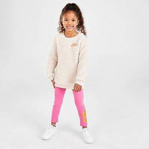 Nike Girls' Toddler Sparkle Sherpa Crew Sweatshirt and Leggings Set in Pink/Brown Size 2 Toddler Knit