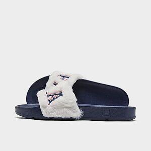 Fila Women's Drifter Furry Collegiate Slide Sandals in Blue/Gardenia Size 6.0 Fiber/Fur
