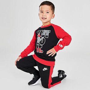 Nike Boys' Toddler Crew Sweatshirt and Jogger Pants Set in Black/Red Size 3 Toddler Cotton/Polyester/Fleece