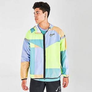 Nike Men's Windrunner Wild Run Running Jacket in Green/Yellow/Blue/Orange Size Small Polyester