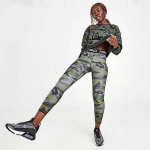 Nike Women's Pro Cropped Camo Training Tights in Grey Size X-Small Cotton/Spandex