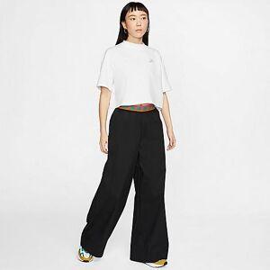 Nike Women's Sportswear Woven Wide Leg Pants in Black Size Medium Cotton/Nylon/Spandex