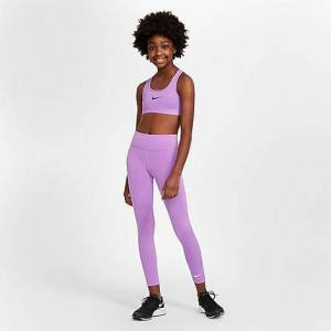 Nike Girls' One Training Leggings in Purple Size Large 100% Polyester/Spandex/Knit