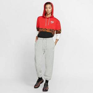 Nike Women's Sportswear Essential Lightweight Fleece Jogger Pants in Grey/Dark Grey Heather Size Medium Cotton/Polyester/Fleece