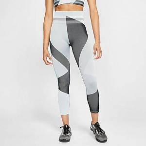 Nike Women's Sculpt Icon Clash Crop Running Tights in Grey/Grey Fog Size Medium Knit