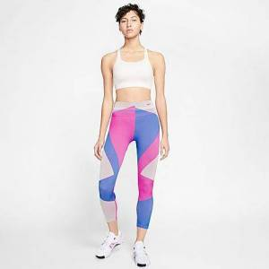 Nike Women's Sculpt Icon Clash Crop Running Tights in Pink/Fire Pink Size X-Small Knit