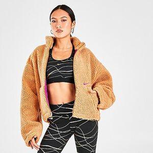 Nike Women's Sportswear Sherpa Fleece Full-Zip Jacket in Orange/Flax Size X-Small 100% Polyester/Fleece